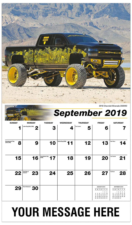 2019 Business Advertising Calendar - 2016 Chevrolet Silverado 2500HD - September