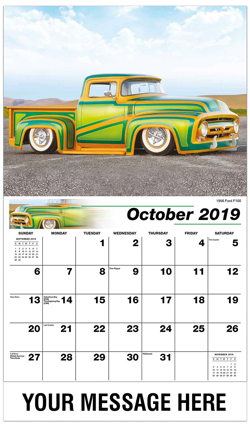 2019 Business Advertising Calendar - 1956 Ford F100 - October