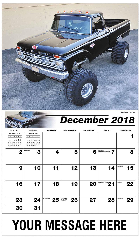 2019 Promotional Calendar - 1960 Ford F-100 - December_2018