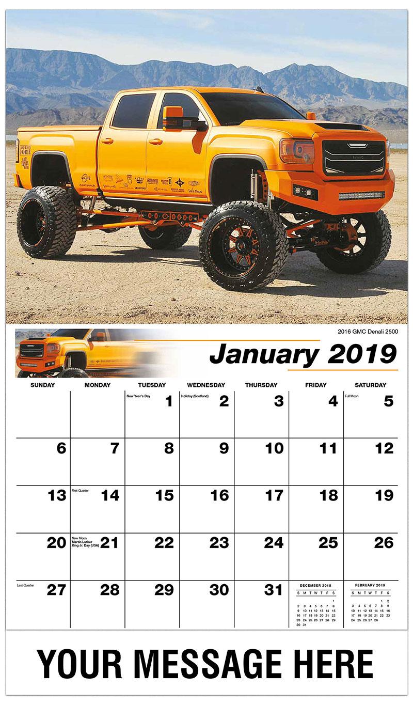 2019 Promotional Calendar - 2016 GMC Denali 2500 - January