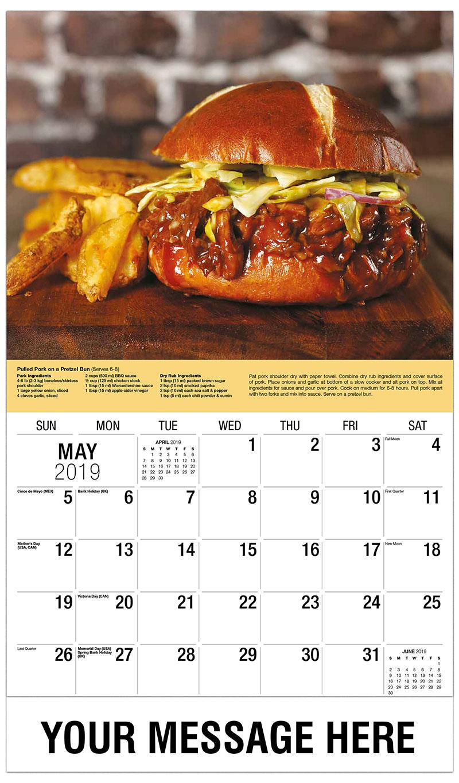 2019 Promo Calendar - Pulled Pork on a Pretzel Bun - May