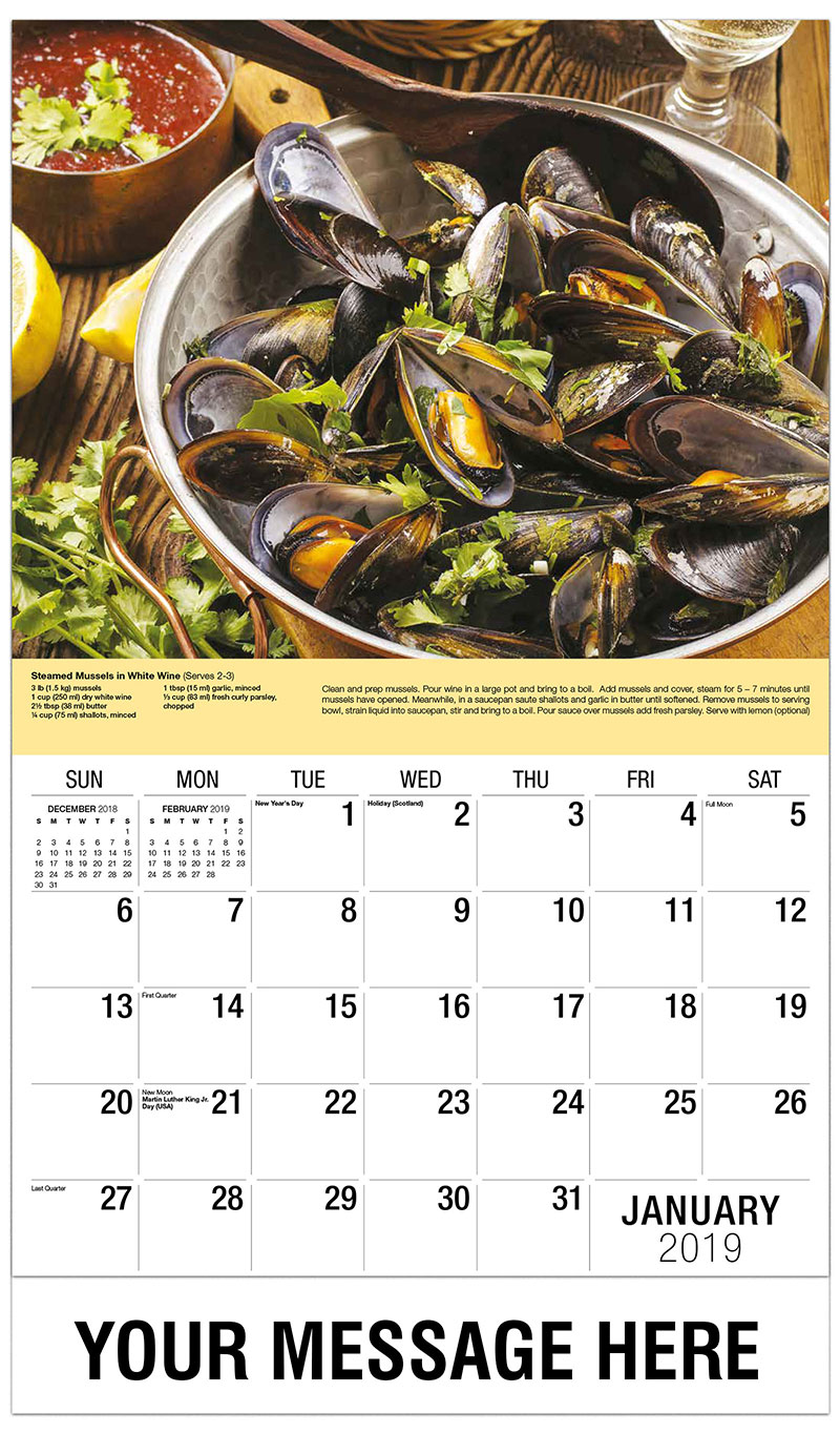 2019 Promotional Calendar - Mussels in White Wine - January