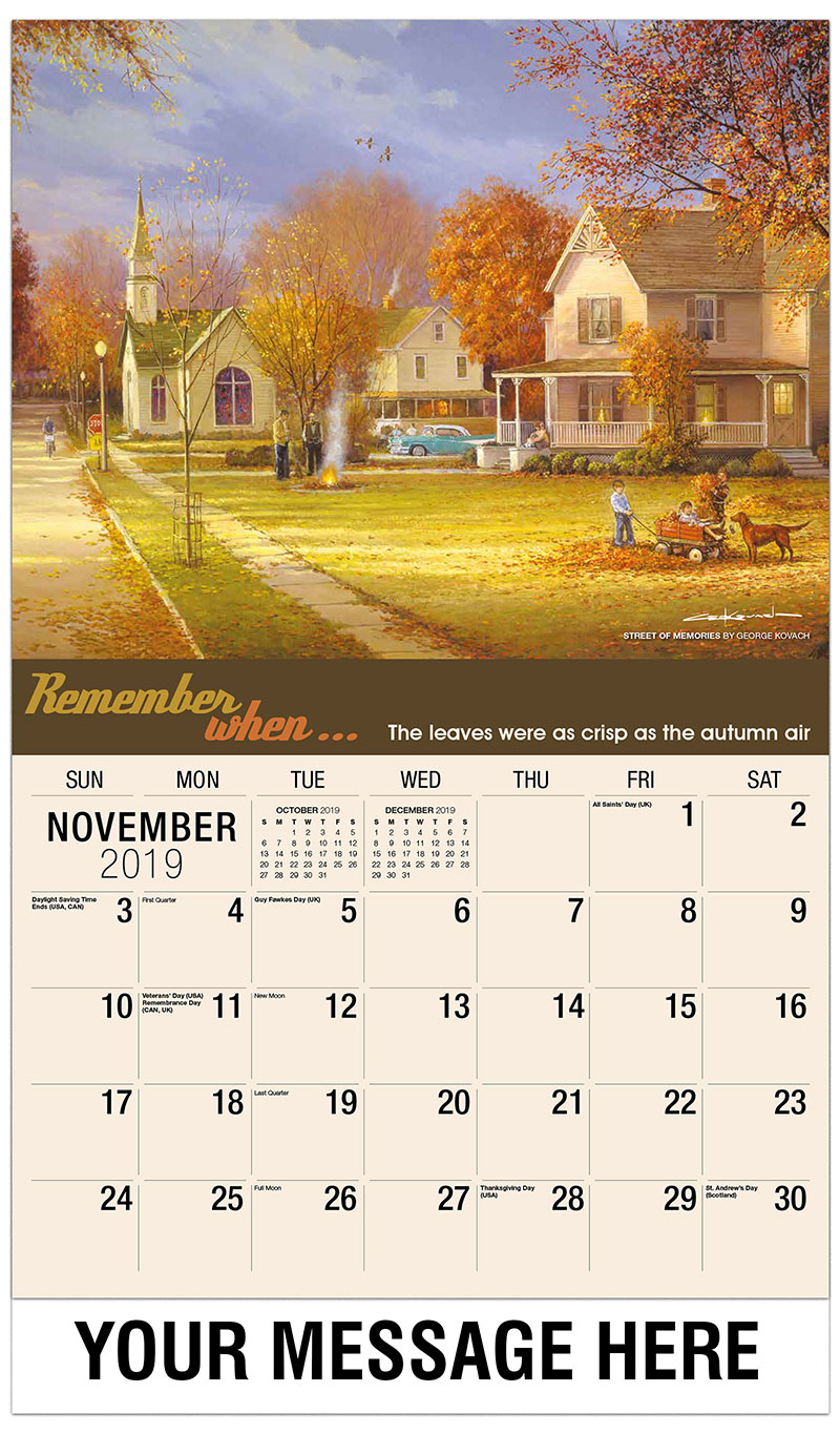 2019 Advertising Calendar - Street Of Memories By George Kovach - November