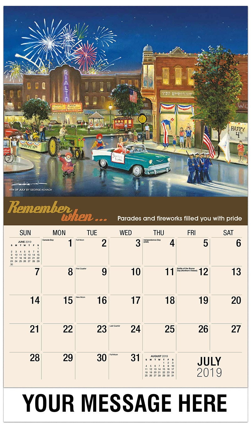 2019 Business Advertising Calendar - 4Th Of July By George Kovach - July