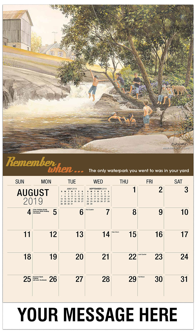2019 Business Advertising Calendar - River Raft By D. R. Laird - August
