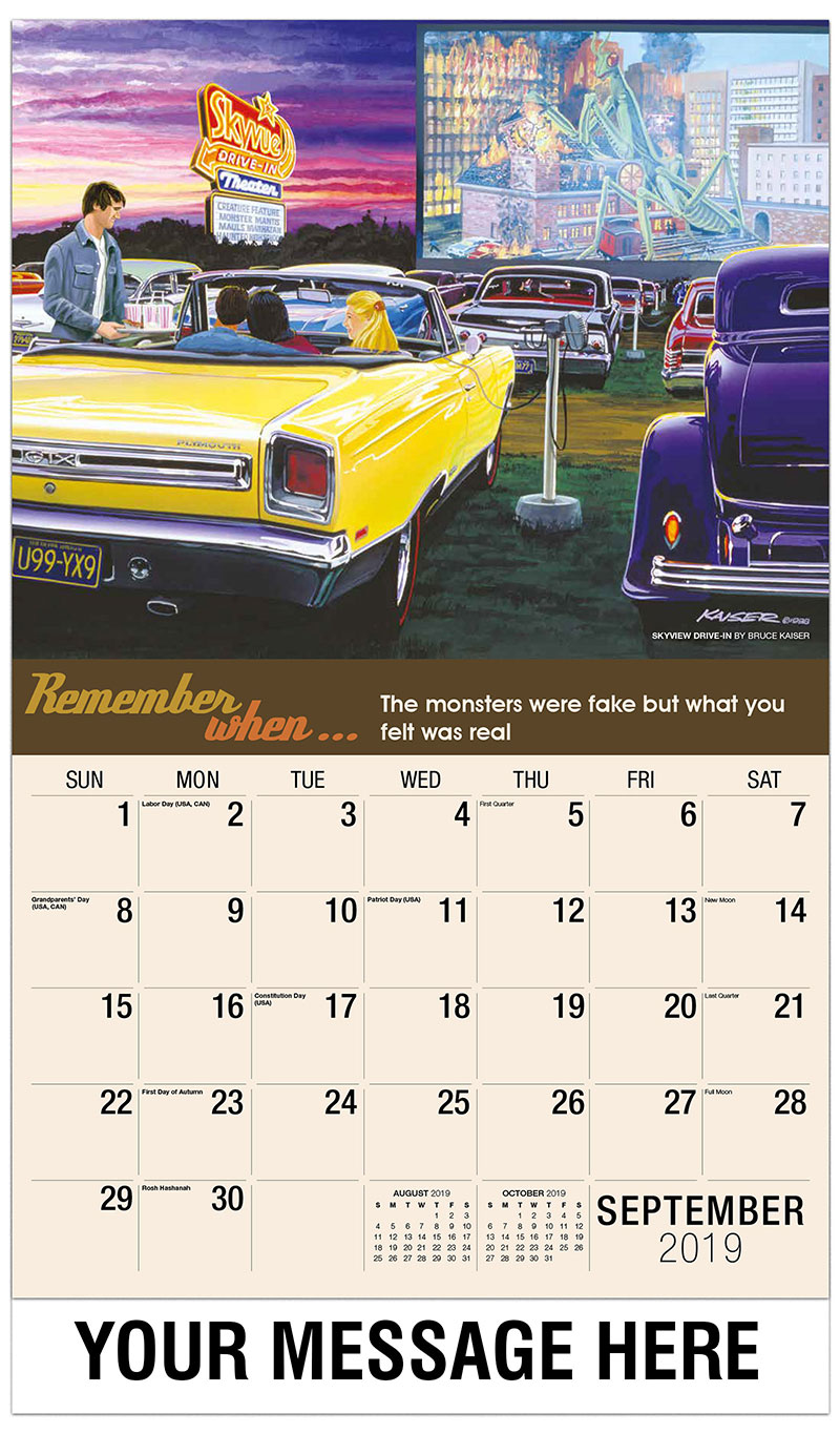 2019 Business Advertising Calendar - Skyview Drive-In By Bruce Kaiser - September