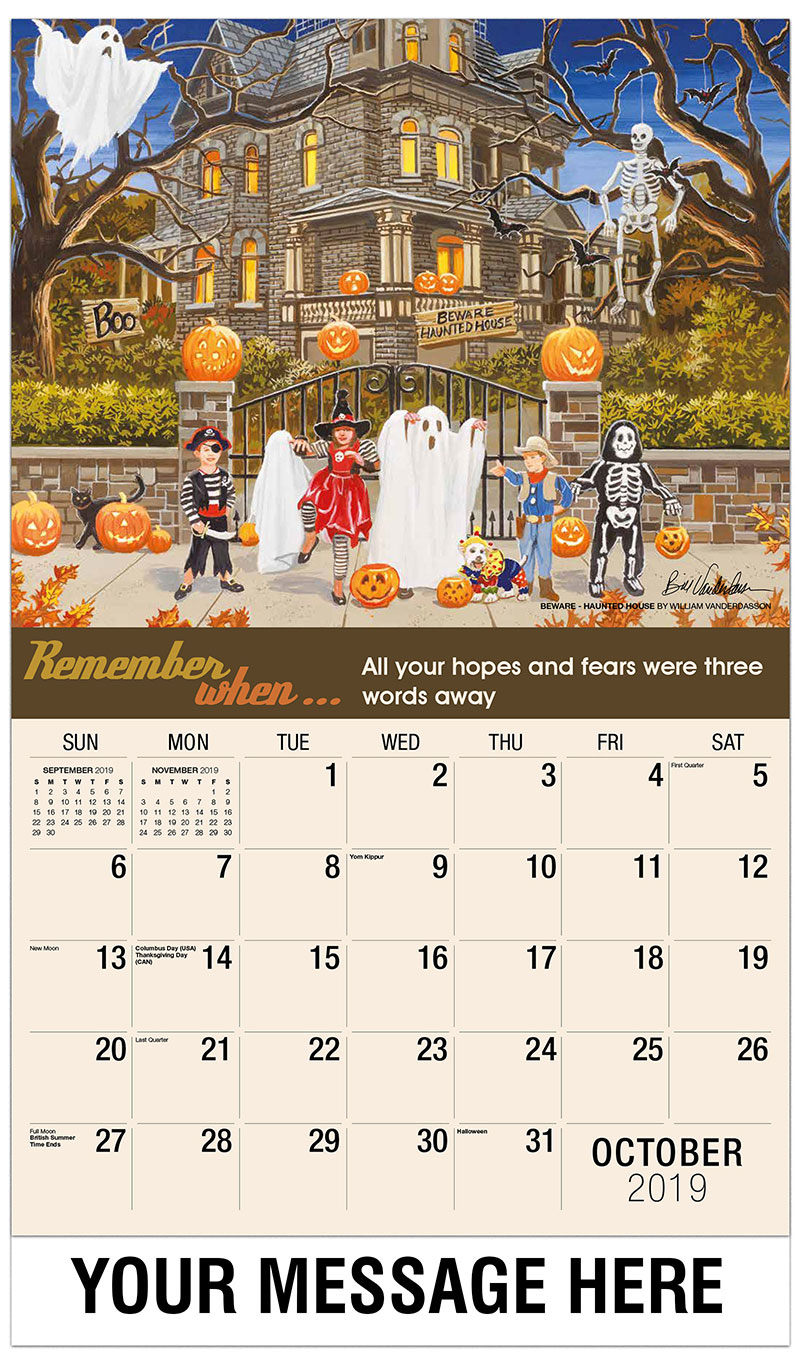 2019 Business Advertising Calendar - Beware - Haunted House By William Vanderdasson - October
