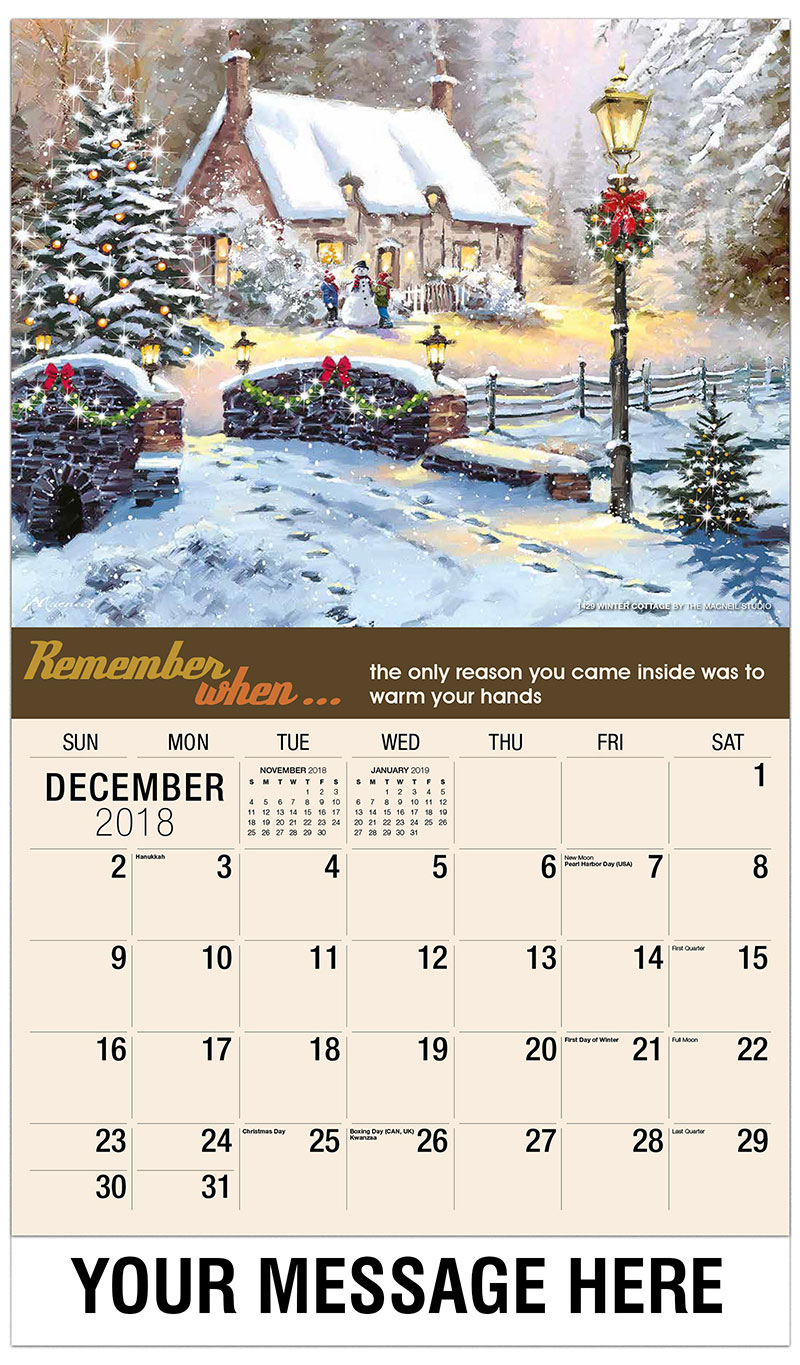 2019 Promo Calendar - 1429 Winter Cottage By The Macneil Studio - December_2018