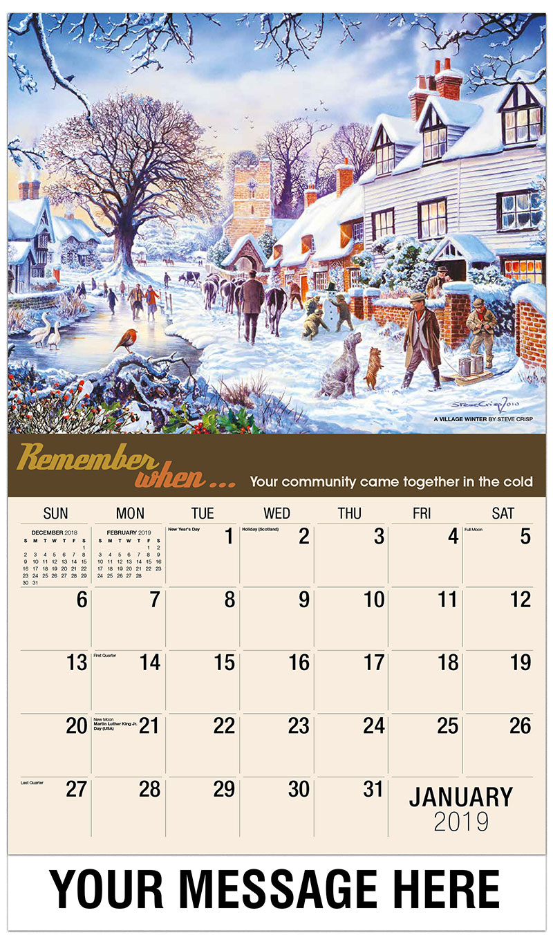 2019 Promo Calendar - A Village Winter By Steve Crisp - January
