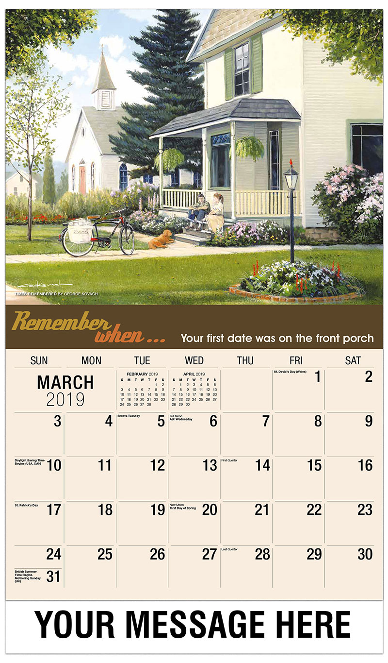 2019 Promotional Calendar - Times Remembered By George Kovach - March