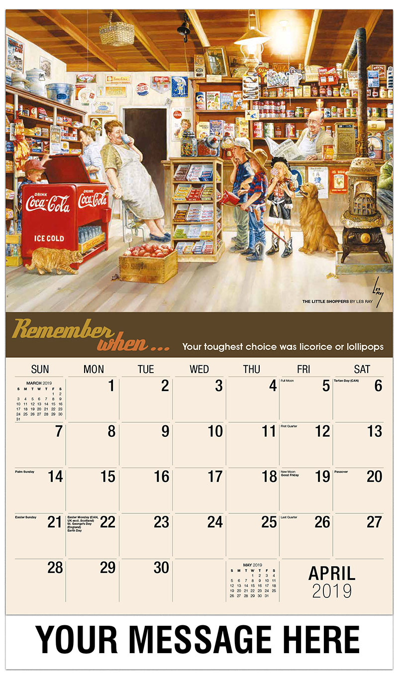 2019 Promotional Calendar - The Little Shoppers By Les Ray - April