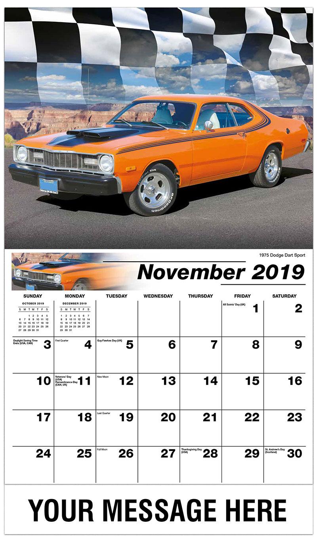 2019 Advertising Calendar - 1975 Dodge Dart Sport - November