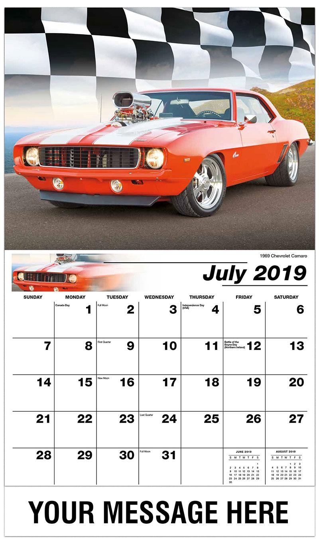 2019 Business Advertising Calendar - 1969 Chevrolet Camaro - July