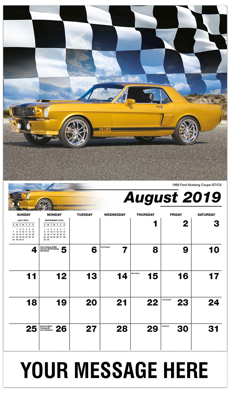 2019 Business Advertising Calendar - 1966 Ford Mustang Coupe GT/CS - August
