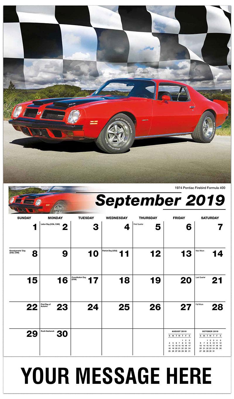 2019 Business Advertising Calendar - 1974 Pontiac Firebird Formula 400 - September