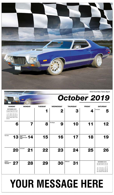 2019 Business Advertising Calendar - 1972 Ford Gran Torino Sport - October