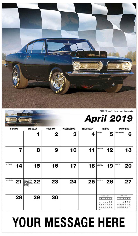 2019 Promo Calendar - 1968 Plymouth Hurst Hemi Barracuda - April