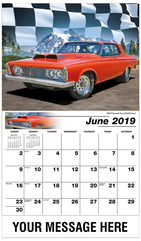 2019 Promo Calendar - 1963 Plymouth Fury 69/426 Hemi - June