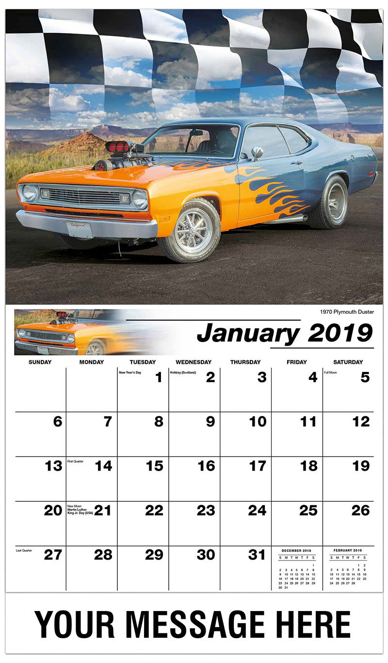 2019 Promotional Calendar - 1970 Plymouth Duster - January