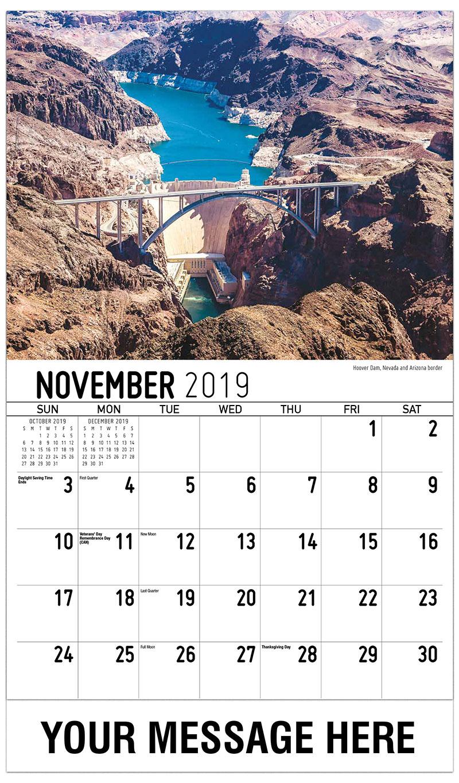 2019 Advertising Calendar - Hoover Dam, Nevada And Arizona Border - November