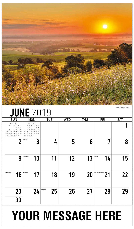 2019 Promotional Calendar - Near Balltown, Iowa - June