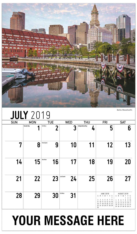 2019 Business Advertising Calendar - Boston, Massachusetts - July