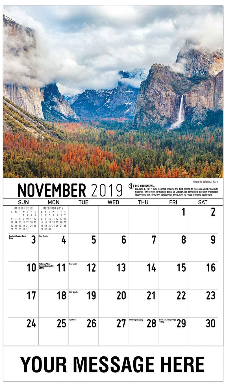 2019 Advertising Calendar - Yosemite National Park - November