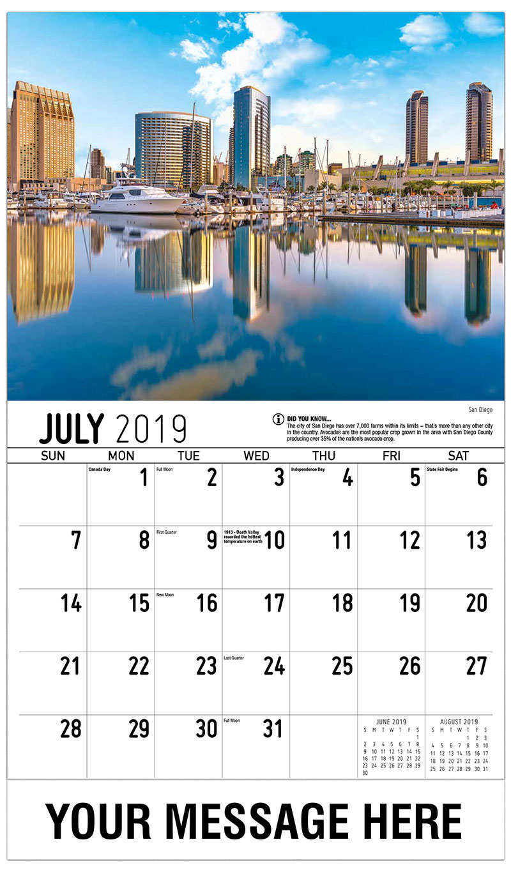 2019 Business Advertising Calendar - San Diego - July