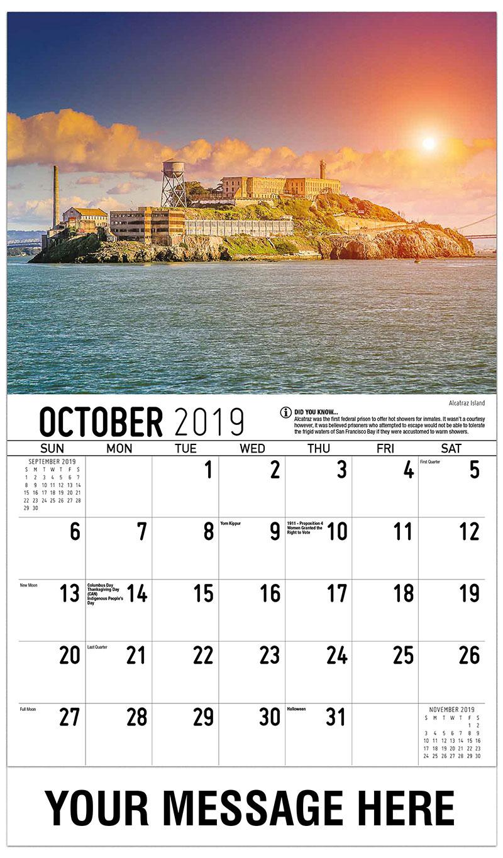 2019 Business Advertising Calendar - Alcatraz Island - October