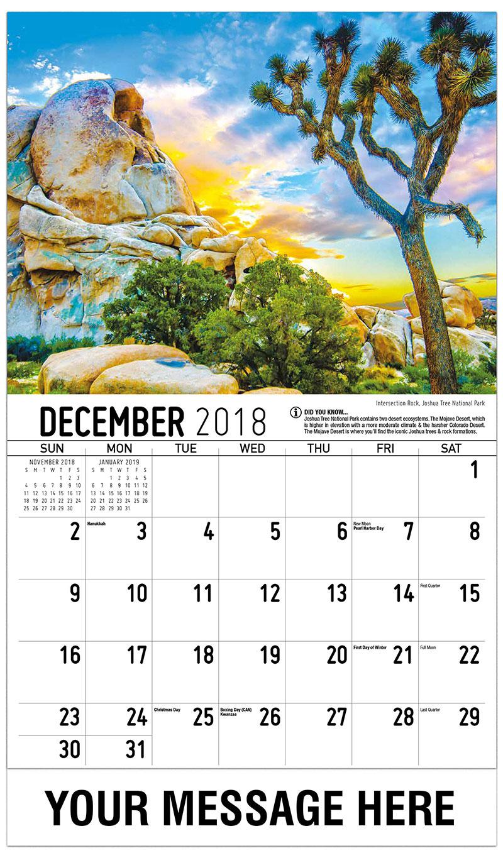 2019 Promotional Calendar - Intersection Rock, Joshua Tree National Park - December_2018