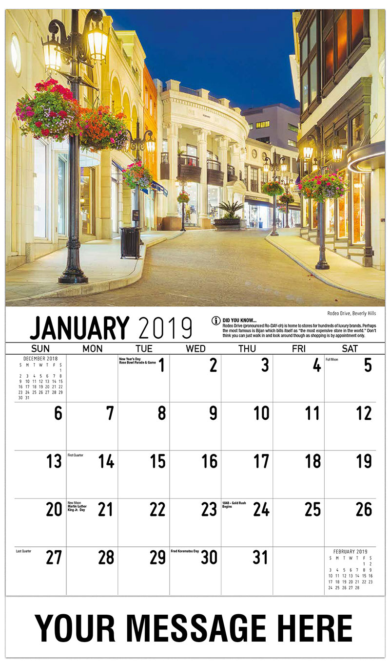 2019 Promotional Calendar - Rodeo Drive, Beverly Hills - January