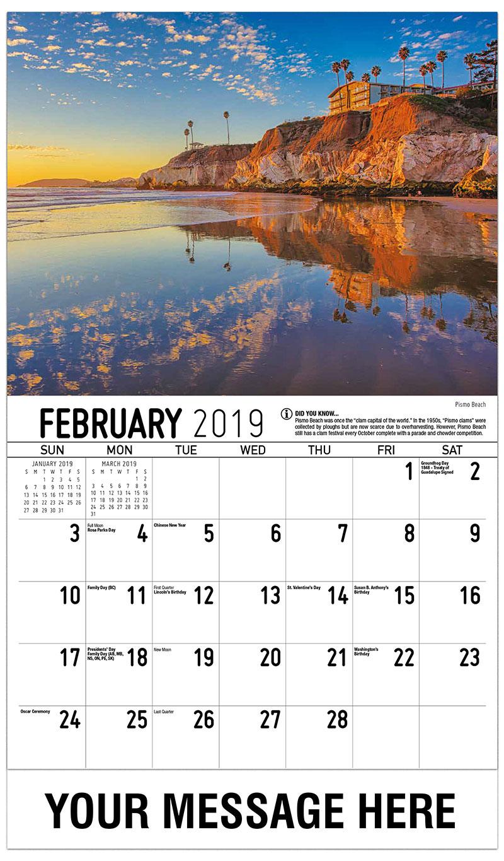 2019 Promotional Calendar - Pismo Beach - February