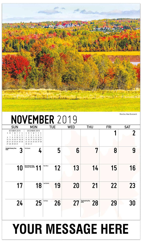 2019 Advertising Calendar - Moncton, New Brunswick - November
