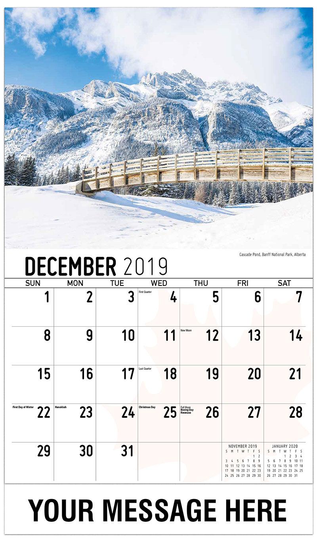 2019 Advertising Calendar - Cascade Pond, Banff National Park, Alberta - December_2019