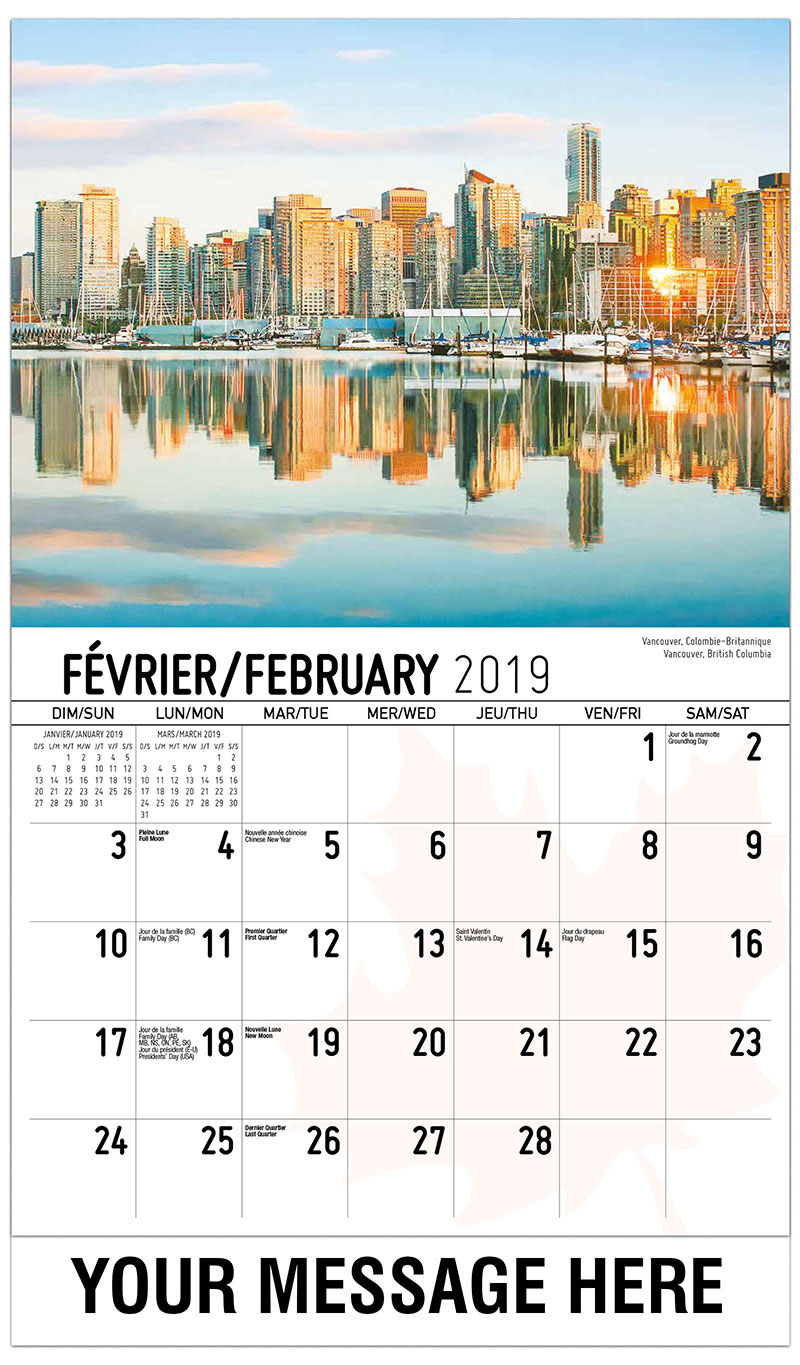 2019 French-English Advertising Calendar - Vancouver, British Columbia - February