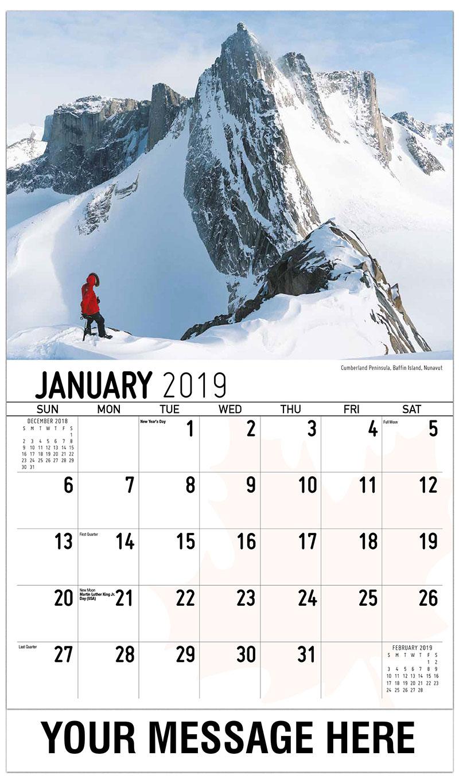 2019 Business Advertising Calendar - Cumberland Peninsula, Baffin Island, Nunavut - January