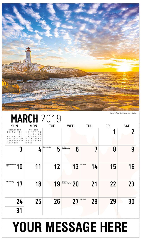 2019 Promotional Calendar - Peggy's Cove Lighthouse, Nova Scotia - March