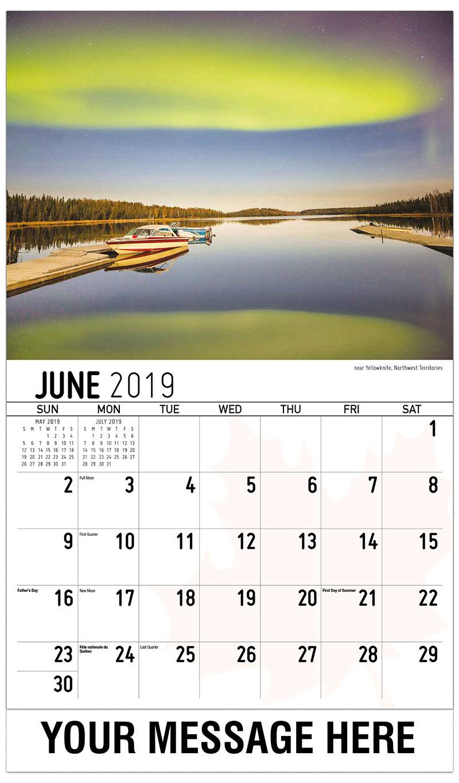 2019 Promotional Calendar - Northern Lights Near Yellowknife, Northwest Territories - June