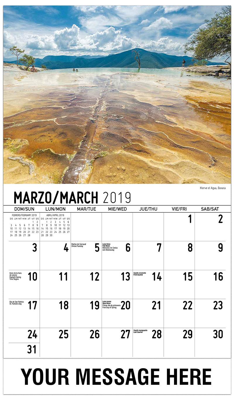 2019  Spanish-English Advertising Calendar - Hierve El Agua, Oaxaca - March