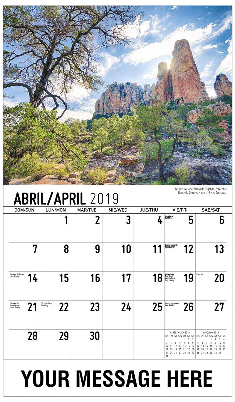 2019  Spanish-English Advertising Calendar - Sierra De Organos National Park, Zacatecas / Parque Nacional Sierra De Órganos, Zacatecas - April