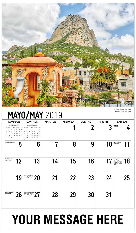 2019  Spanish-English Advertising Calendar - Bernal'S Peak, Querétaro / Peña De Bernal, Querétaro - May