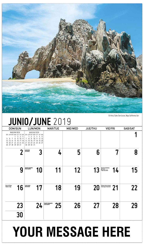 2019  Spanish-English Advertising Calendar - El Arco, Cabo San Lucas, Baja California Sur - June
