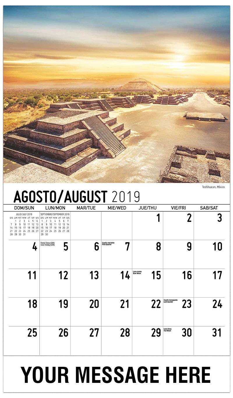 2019  Spanish-English Promo Calendar - Teotihuacan, México - August