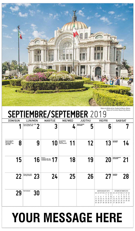 2019  Spanish-English Promo Calendar - Palace Of Fine Arts, Mexico City, Mexico / Palacio De Bellas Artes, Ciudad De México, México - September