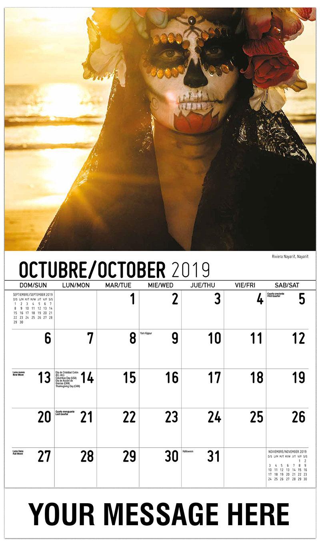 2019  Spanish-English Promo Calendar - Riviera Nayarit, Nayarit - October