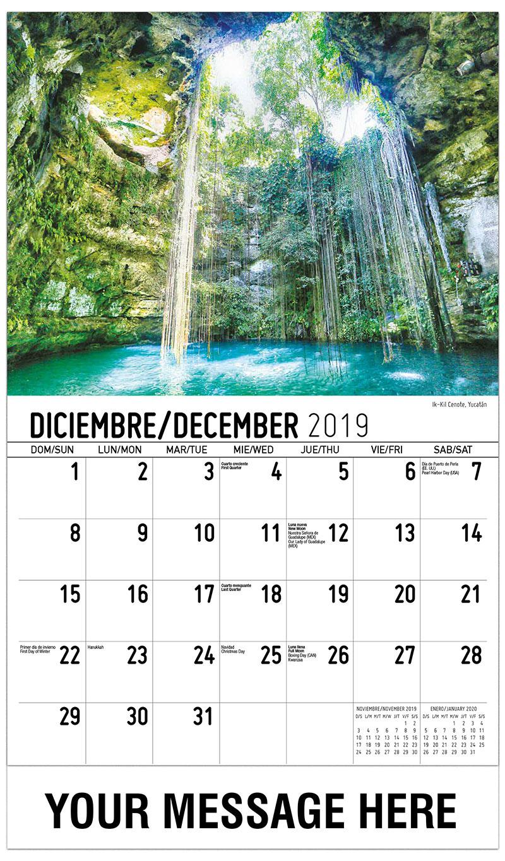 2019  Spanish-English Promo Calendar - Ik-Kil Cenote, Yucatán México - December_2019