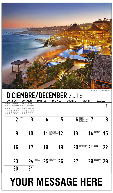 2019  Spanish-English Promotional Calendar - Cabo San Lucas, Baja California Sur  - December_2018