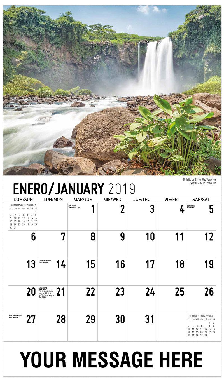 2019  Spanish-English Promotional Calendar - Eyipantla Falls, Veracruz El Salto De Eyipantla, Veracruz - January