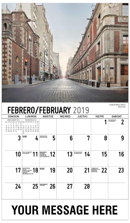 2019  Spanish-English Promotional Calendar - Mexico City Ciudad De México, México - February