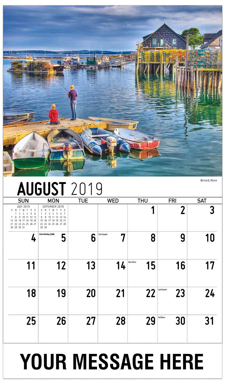 2019 Business Advertising Calendar - Bernard, Maine - August